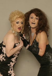 Amber Dextrous and Fanny Dazzle drag queen duo double act